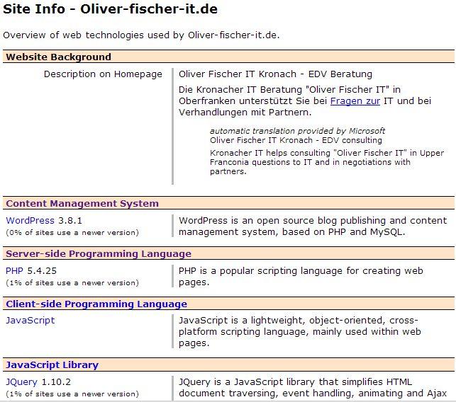 Auf der Website Oliver Fischer IT eingesetzte Web-Technologien (Ausschnitt)