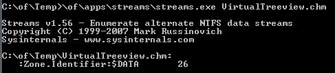 Mit Streams.exe Alternate Data Streams anzeigen