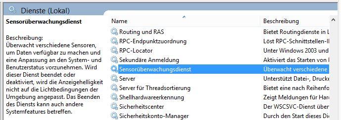 Windows Sensorüberwachungsdienst