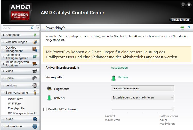 AMD Catalyst Control Center: Vari-Bright