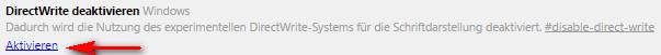 Google Chrome Aktivierung von DirectWrite
