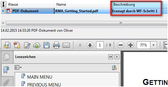 DOCUframe Workflow Dokument nach Schritt 1