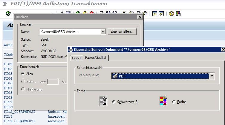 SAP Druckausgabe über Auswahl Drucker am Frontend