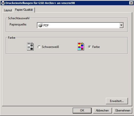GSD Archiv+ Drucker in DOCUframe: Dialog Eigenschaften