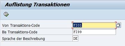 ABAP Auflistung von SAP-Transaktionen