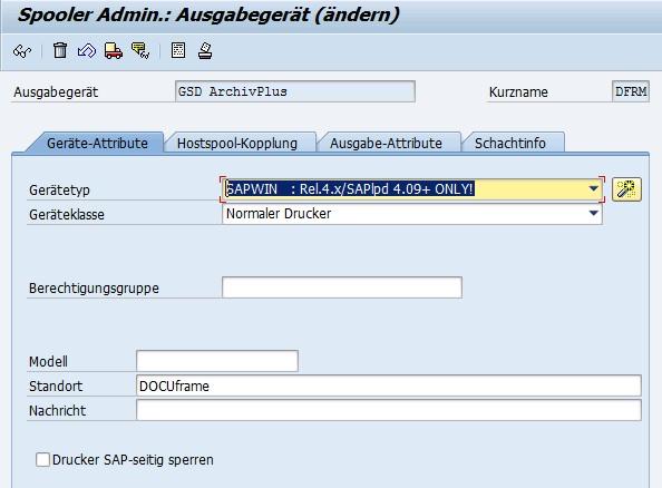 Neuer SAP Drucker: GSD ArchivPlus