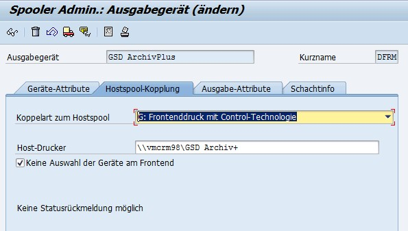 Neuer SAP Drucker: GSD ArchivPlus Hostspool-Kopplung