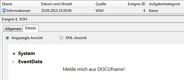 DOCUframe, Windows Script Host und Visual Basic Scripting