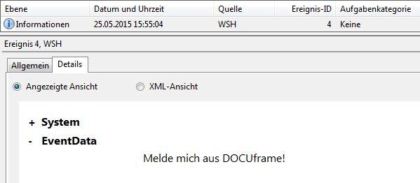 DOCUframe schreibt eine Meldung in den Eventlog von Windows