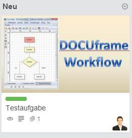 Aus DOCUframe erstellte Trello Karte
