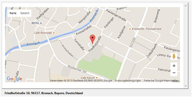 Anzeige der korrigierten Adresse in einer Google Maps Karte